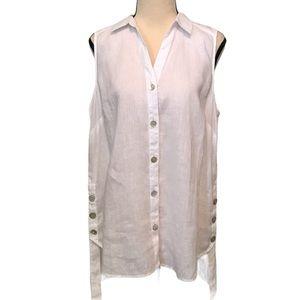 J.Jill | love linen white sleeveless button blouse